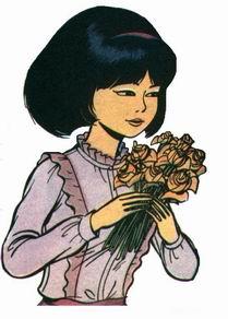 Yoko avec un bouquet de roses